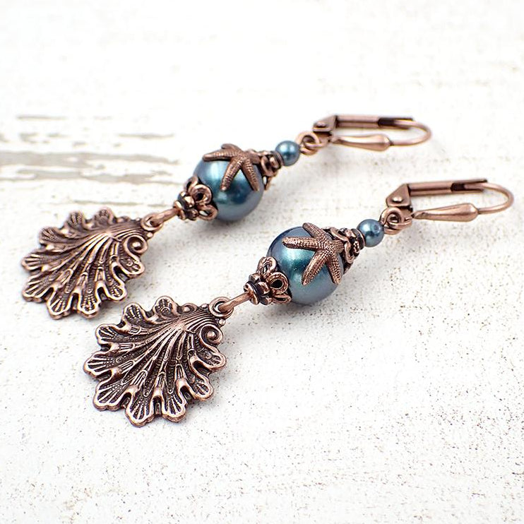 copper seashell and starfish earrings with teal Swarovski pearls