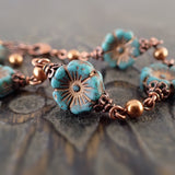 Turquoise Flower and Swarovski Pearl Bracelet - view 2