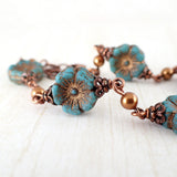 Turquoise Flower and Swarovski Pearl Bracelet - view 4