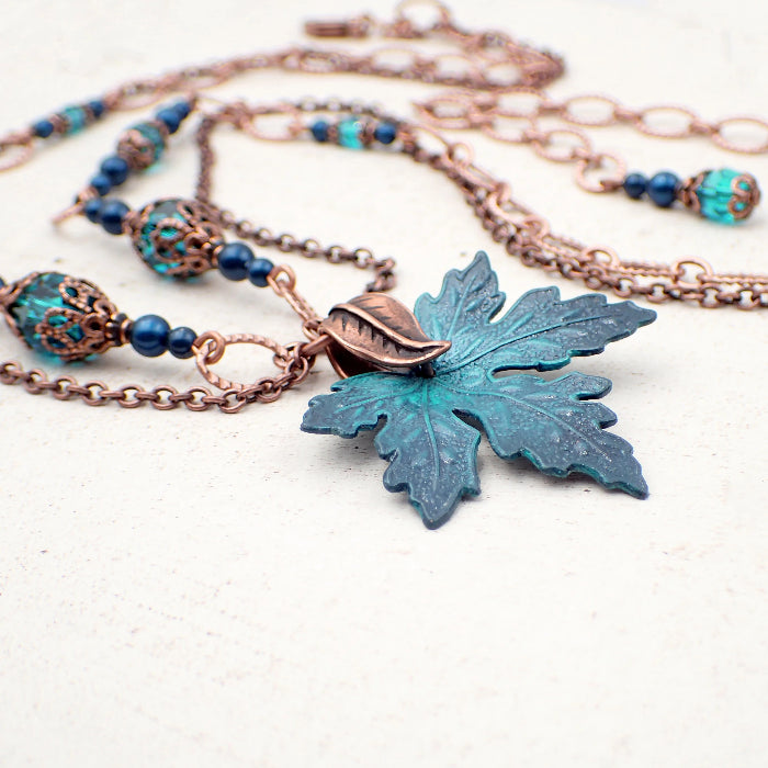 Hand Painted Maple Leaf Necklace with Teal Swarovski Crystals