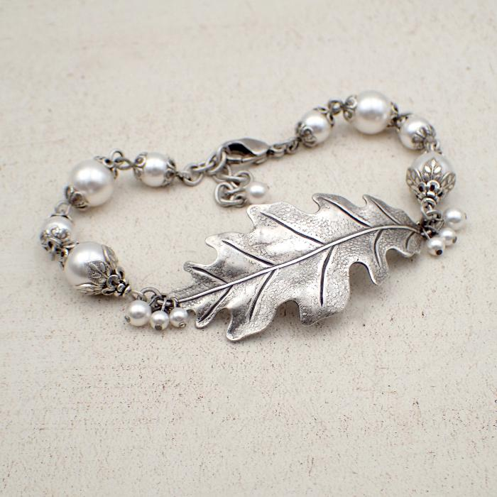 Antiqued Silver Oak Leaf Bracelet with White Crystal Simulated Pearls