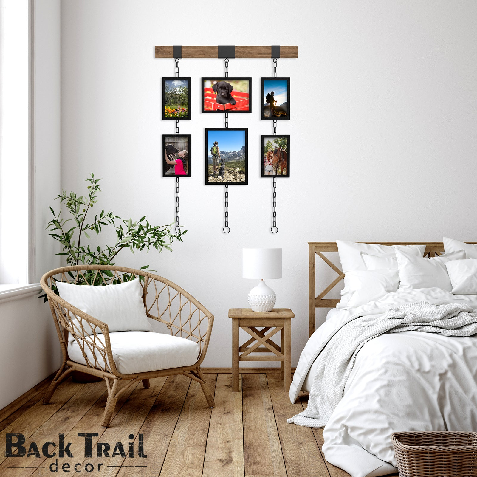 Rustic Wall Gallery Frame Set - picture frame collage for wall, 6 frames