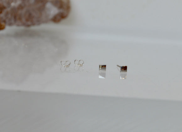 Sterling Silver Square Stud Earrings, Minimal Silver Stud Earrings, 3mm Square Earrings, Geometric Stud Earrings, Small Studs, Modern Style