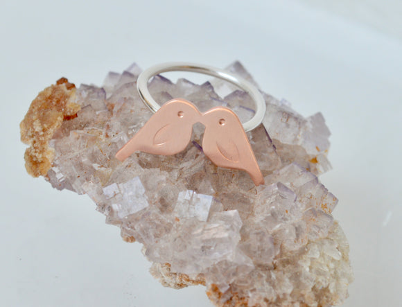 Copper and Silver Kissing Birds Ring