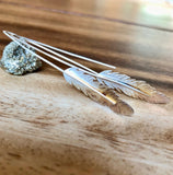 Silver Rustic Feather Earrings