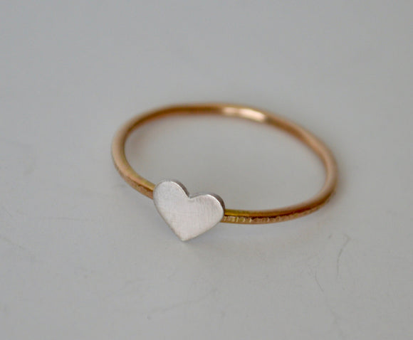 Heart Ring, Gold Ring, Tiny Heart Ring, Silver Ring, Silver Heart, Gift for Girlfriend, Rose Gold, Tiny Heart Jewelry. Heart Jewelry