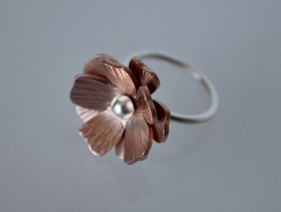 Flower Ring, Copper Flower Ring, Silver Flower Ring, Statement Ring, Metalwork, Copper Jewelry, Copper Ring, Silver Ring, Copper and Silver