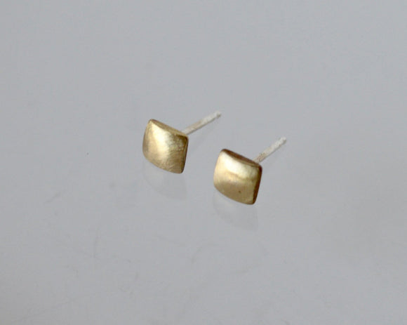 Brass Earrings, Stud Earrings, Square Earrings, Gold Color Earrings, Brushed Brass Earrings, Small Stud Earrings, Geometric Earrings, Studs