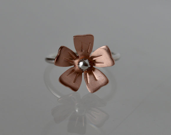 Flower Ring, Copper Flower Jewelry, Copper and Silver Ring, 7th Anniversary Gift, Bridesmaid Gift, Flower Jewelry, Silver Ring, Blossom Ring
