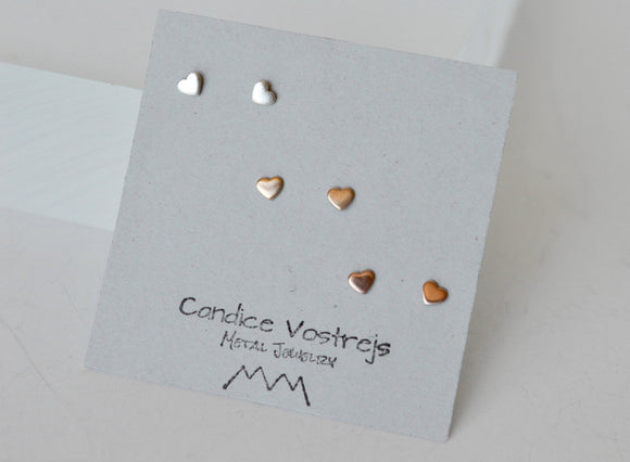 Tiny Stud Earrings, Tiny Heart Earrings, Gold Filled Heart Earrings, 3mm Heart Earrings, Heart Stud Earrings, Rose Gold Heart Earrings, Stud
