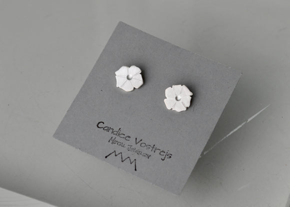 Flower Earrings, Morning Glory Earrings, Silver Flowers, Silver Studs, Small Studs, Bridal Earrings, Flower Girl Jewelry, Gift for Girls