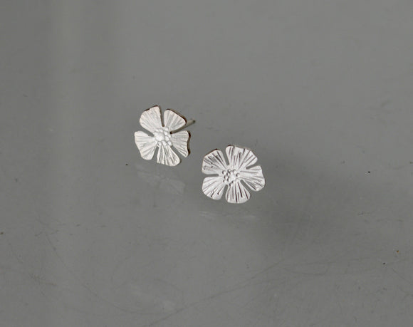 Daisy Earrings, Phlox Earrings, Silver Stud Earrings, Silver Flower Earrings, Studs, Sterling Silver Flower Silhouette Earrings, Bridal