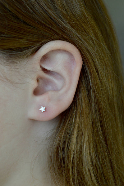 5mm Star Earrings, Star Stud Earrings, Star Earrings, Tiny Star Earrings, Small Stud Earrings, Gold-filled Studs, Set of Three pairs, gold