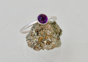 Amethyst Ring, Purple Amethyst, Silver Ring, Sterling Silver Stacking Ring, Hammered silver Ring, February Birthstone, February Birthday