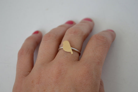 Bird Ring, Yellow Bird Ring, Silver Ring, Minimal Ring, Sterling Silver Ring, Stackable ring, Cute Ring, Golden Ring, Brass Ring, Two Toned