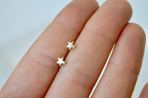 14k Solid Gold Star Stud Earrings,  5mm Star Earrings, Yellow Gold, Rose Gold