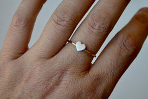 Silver and Hammered Yellow Gold Filled Heart Ring, Anniversary Gift, Ring for Girls, Heart Ring, Silver and Gold, Minimal Jewelry, 6mm Heart