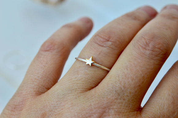 Gold Star Ring, Gold Filled, Stackable Ring, Hammered Silver Ring, 5mm Star, Silver Star Ring, Minimal Jewelry, Small Ring, Stacking Rings
