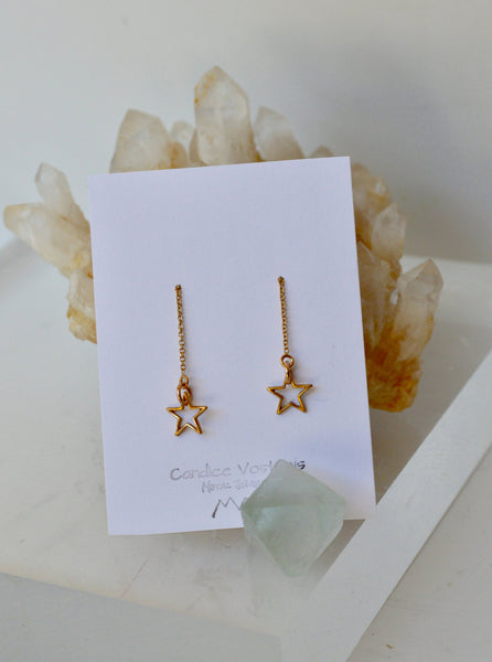 Ear Threader, Star Ear Threader, Threader Earrings, Gold Filled Threaders, Star Earrings, Dangle Earrings, Gold color Earring, Brass Earring