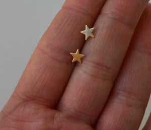6mm Brass Star Stud Earrings