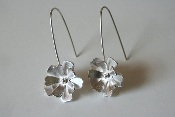 Fancy Silver Flower Hanging Earrings, Bridal Earrings, Bridesmaid Earrings, Gift For Her, 925 Silver, Handmade Earrings, Silver Earrings