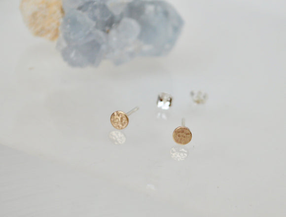 10 Karat Gold textured Minimal 4mm Dot Stud Earrings, Minimal Jewelry, Handmade