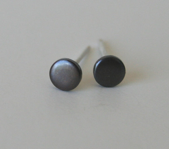 4mm Black Tiny Dot Post Earrings, Dot Earrings, Black Earrings, Black Jewelry, Minimal Jewelry, Black Patina, Copper Jewelry, Small Earrings