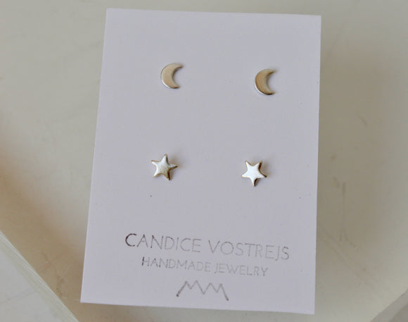 Stars and Moon Stud Earrings, Sterling Silver Moon Earrings, Gold Filled Stud Earrings, 5mm Stars, Copper, Brass, Rose Gold Filled