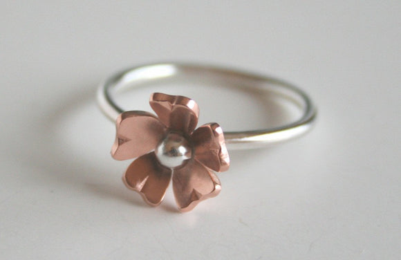 Silver and Copper Flower Ring, Rustic Jewelry, Anniversary Gift, Statement Ring, Boho Ring, Copper Jewelry, Handmade Jewelry, Gift for Her