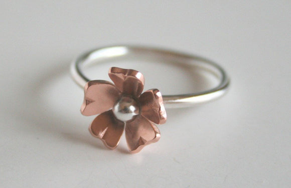 Petite Copper Rose Flower Ring, Copper Flower Jewelry, Silver RIng, Silver Flower RIng, Metal Ring, Flower Jewelry, Gift For Her, Sterling