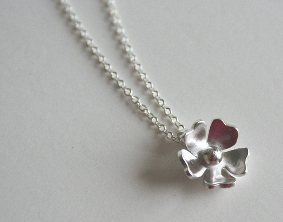 Simple Silver Rose Flower Necklace, Flower Necklace, Silver Necklace, Bridesmaid Necklace, Tiny Flower Necklace, Cute Silver Necklace,
