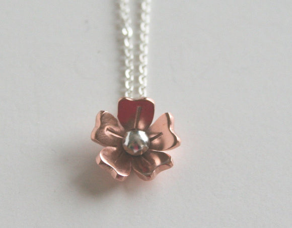 Tiny Flower Necklace, Bridesmaid Necklace, Copper Flower Jewelry, Rose Gold Color, Copper Jewelry, Dainty Necklace, Tiny Flower Jewelry