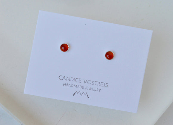 5mm Carnelian and Sterling Silver Round Stud Earrings, Ready to Ship