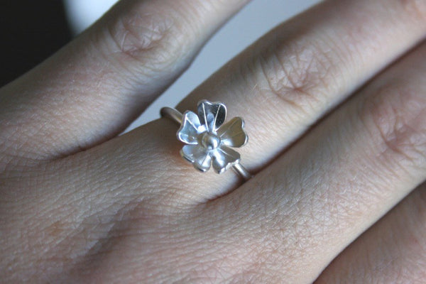 Petite Rose Silver Flower Ring, Silver Flower Ring, Silver Ring, Flower RIng, Bridesmaid Gift, Gift for Her, Engagement Ring, Silver Jewelry