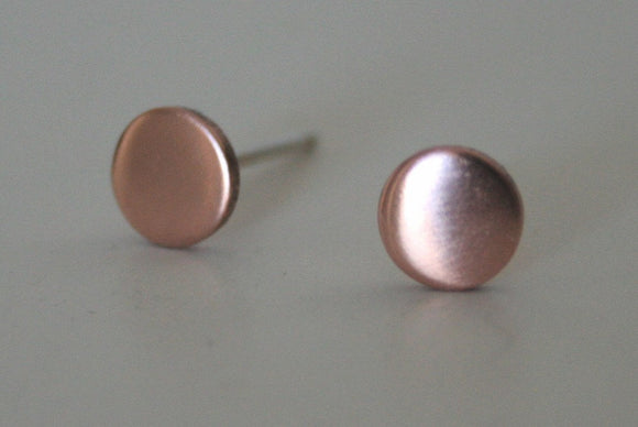 6mm  Dot Post Earrings, Copper Dot Earrings, Circle Earrings, Dots, Dot Stud Earrings, Simple Earrings, Silver Posts, Minimal Jewelry