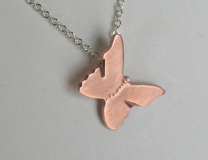 Copper Butterfly Necklace, Silver and Copper Jewelry, Handmade Metal Butterfly, Natural Copper Jewelry, Black Butterfly jewelry, Silver