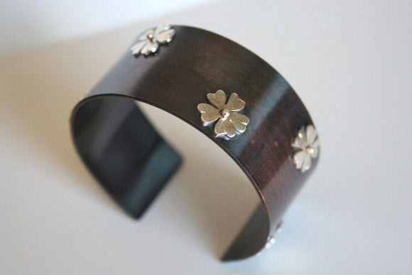 Rustic Mixed Metal Cuff with Tiny Silver Flowers and Dark Patina, Modern Western Style Jewelry, Cowgirl Jewelry, Sterling Silver and Brass