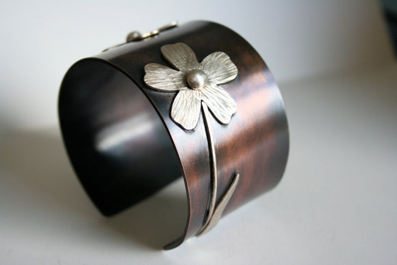 Rustic Metal Jewelry, Daisy Cuff, Rustic Cuff, Rustic Flower Jewelry, Silver Cuff, Mixed Metal Cuff, Dark Patina, Flower Jewelry