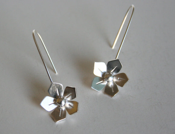 Ready to Ship, Silver Wild Rose Earrings, Bridesmaid Earrings, Bridal Jewelry, Silver Bridesmaid Jewelry, Sterling Silver Flowers