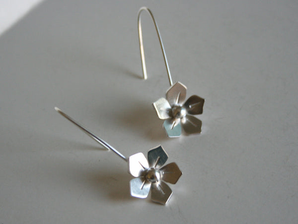 Silver Wild Rose Earrings, Silver Dangle Earrings, Bridesmaid Earrings, Bridal Jewelry, Silver Bridesmaid Jewelry, Sterling Silver Flowers