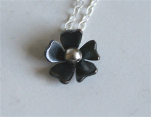 Tiny Black Rose Flower Necklace, Black Flower, Small Necklace, Rose, Daisy, Flower Jewelry, Black Patina, Silver and Black, Metalwork