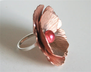 Giant Poppy Flower Ring with Pearl, Huge Flower RIng, Huge RIng, Giant Ring, Statement Ring, Statement Jewelry, Copper Jewelry, SIlver RIng