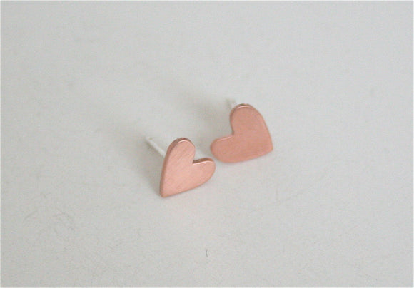 Tiny Copper Heart Post Earrings, Heart Earrings, Heart Jewelry, Tiny Hearts, Hearty Jewelry, Small Heart Earrings, Copper Earrings, Silver