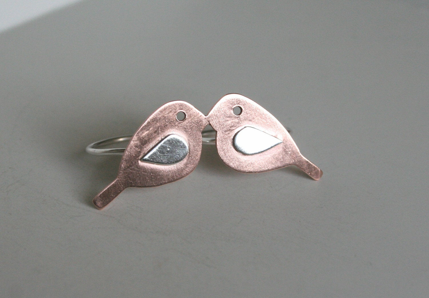 Love Birds Two Finger Metal Ring, Mixed Metal Ring, Love Birds, Bird Jewelry, Copper Birds, Double Finger Ring, Bird Silhouette, Silver RIng