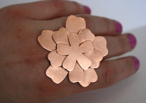 Giant Copper Flower Ring, Huge Ring, Statement Ring, Copper Jewelry, Copper Flower, Flower Petals, Across Hand Ring, Big Ring, Cocktail Ring
