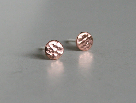 Textured Copper Dot Post Earrings, Copper Earrings, 4mm Dot Earrings, Post Earrings, Small Earrings, Tiny Earrings, Copper Studs, Minimalist