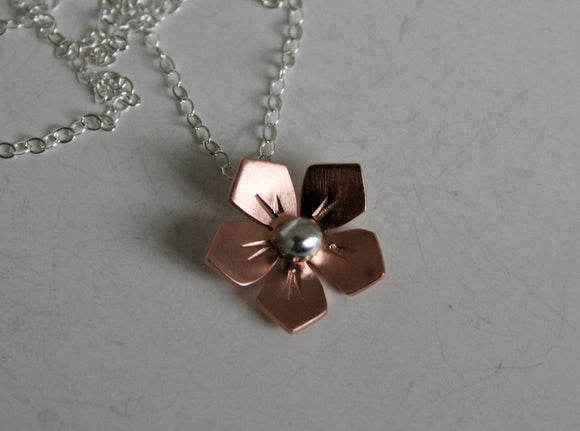 Copper Flower Necklace, Flower Jewelry, Copper Jewelry, Silver and Copper, Rose Gold Color, Wild Flower Necklace, Rustic Necklace, Gift