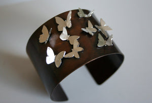 Flying Butterfly's Cuff Bracelet, Butterfly Cuff, Butterfly Bracelet, Silver Butterfly Bracelet, Rustic Cuff, Mixed Metal, Patina