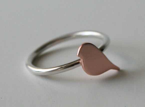 Tiny Copper Bird Ring, Bird RIng, Metal Bird RIng, Metal RIng, SIlver RIng, Copper RIng, Copper Bird, Copper Jewelry, Bird Silhouette
