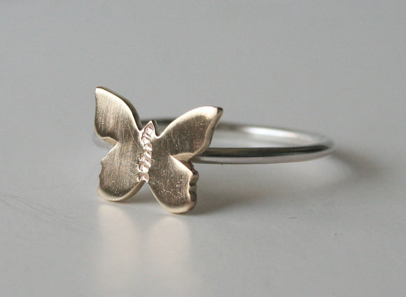 Tiny Brass Butterfly Ring, Butterfly RIng, Butterfly Jewelry, Metal Butterfly Ring, Gold Butterfly RIng, Silver RIng, Silver Butterfly RIng